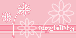 Happy Birthday. A birthday card decorated with pink flowers Stock Image