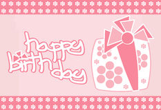 Happy Birthday. A birthday card decorated with a pink gift Stock Photo