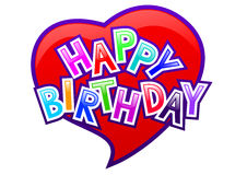 Happy birthday. Letters on red heart Stock Image