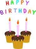 Happy birthday. And three cakes Stock Images