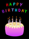 Happy birthday. And cake with candles Royalty Free Stock Photos