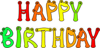 Happy birthday. The text with funny letters Stock Photos