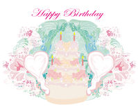 Happy Birthday - abstract floral greeting card Royalty Free Stock Image