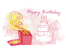 Happy Birthday - abstract floral greeting card Royalty Free Stock Images