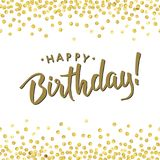 Birth gold dot2. Happy Birthday. Abstract pattern of random gold dots with black text in center on white background. Hand drawn invitation. Handwritten modern Stock Photography