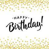 Birth gold dot. Happy Birthday. Abstract pattern of random gold dots with black text in center on white background. Hand drawn invitation. Handwritten modern Stock Photos