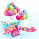 Happy birthday air balloons. Happy birthday festive background with multicolored air balloons Royalty Free Stock Photography