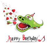 Happy Birthday alligator Stock Image
