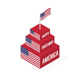 Happy Birthday America. Isometric vector cake with a flag on a white background isolated Stock Photos