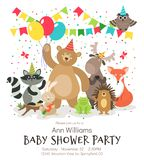 Happy birthday animals poster. Woodland forest animal baby shower kids invitation vintage vector card stock illustration
