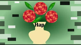 Happy birthday animated video banner, three red fantasy roses in beige vase on green gradient background, bouquet in
