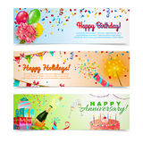 Happy birthday anniversary celebration banners set. Happy anniversary birthday party celebration in holidays season 3 horizontal festive colorful decorative Stock Photos