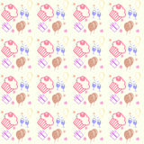 Happy birthday and anniversary seamless background pattern in ve Stock Photos