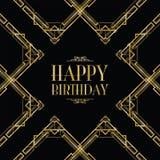 Happy birthday art deco Stock Images