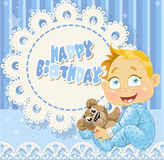 Happy Birthday for baby boy blue openwork card Royalty Free Stock Images