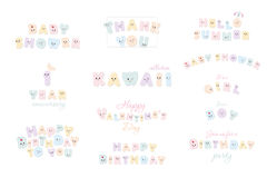 Happy birthday, baby shower, hello summer, Valentine s day. Kawaii paper cutout letters. Festive inscriptions big set. Isolated on white. Vector Stock Image