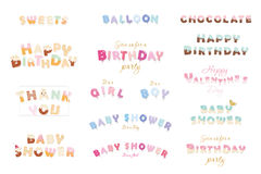 Happy birthday, baby shower, Valentine s day. Sweet, balloon, chocolate letters. Festive inscriptions big set isolated on white. Stock Photo