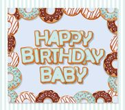Happy birthday baby sweet greeting card template for boys. Donuts frame and striped pattern included. Vector Stock Images