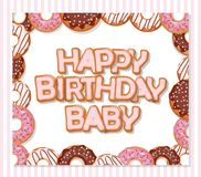 Happy birthday baby sweet greeting card template for girls. Donuts frame and striped pattern included. Vector Stock Photo