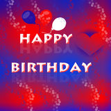 Happy birthday background. With balloons and heart Stock Images