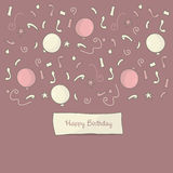 Happy Birthday background. With balloons and confetti Stock Photos