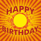 Happy birthday background. Retro happy birthday background with abstract design and sunburst effect Stock Photo