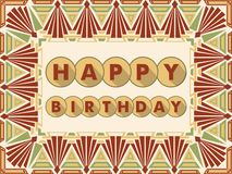 Happy birthday background in art deco design, muted colors. Frame composed from simply geometric shapes Stock Photo