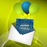 Happy birthday background with ballons and envelope Stock Photography