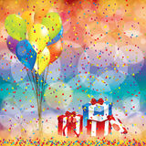 Happy birthday background with balloon and gifts Stock Image