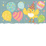 Happy Birthday background with balloons and bird Royalty Free Stock Photography