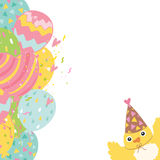 Happy Birthday background with balloons and bird Royalty Free Stock Photo