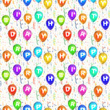Happy birthday background with balloons and confetti, seamless pattern. Happy birthday background with balloons and confetti on white, seamless pattern Royalty Free Stock Photos