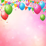 Happy birthday background with balloons and flags. Happy birthday background poster with balloons and flags. layered Stock Image