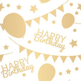 Happy Birthday Background with Balloons, Flags and Stars. Simple Royalty Free Stock Photos