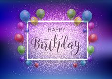 Happy Birthday background with balloons and glitter. Happy Birthday background with balloons, frame and glitter Stock Photos