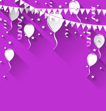 Happy birthday background with balloons and hanging buntings Stock Photography