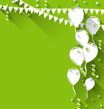 Happy birthday background with balloons and hanging pennants, tr Royalty Free Stock Images
