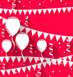 Happy birthday background with balloons and hanging pennants, tr. Illustration happy birthday background with balloons and hanging pennants, trendy flat style Stock Image