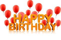 Happy birthday background with balloons. Orange happy birthday 3d background with red balloons. Vector holiday illustration Royalty Free Stock Photo