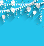 Happy birthday background with balloons, stars and pennants Royalty Free Stock Photography