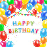 Happy Birthday background from balloons on white background Royalty Free Stock Photos