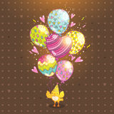 Happy Birthday background with bird and balloon Royalty Free Stock Photo
