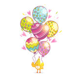 Happy Birthday background with bird and balloons. Royalty Free Stock Photos