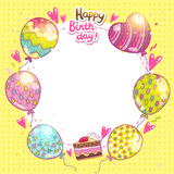 Happy Birthday background with cake and balloons.