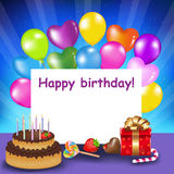 Happy Birthday Background with Cake and Balloons Royalty Free Stock Photos