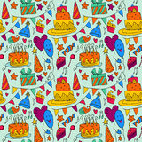 Happy Birthday  background with cakes on wooden table. Royalty Free Stock Image