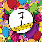 7 Happy Birthday background or card with Stock Image