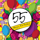 55 Happy Birthday background or card with. Colorful background vector illustration