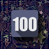 100 Happy Birthday background or card. Stock Photos