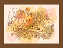 Happy Birthday background for card. Hand drawn doodles gift boxes, garlands and balloons, party blowouts, cakes. Happy Birthday background for card. Hand drawn Stock Image